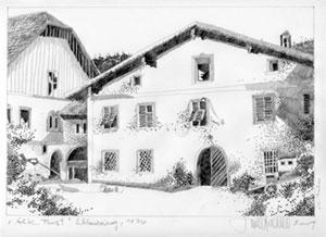 Herbert Bauer, Alte Post in Schladming, Bleistift auf Papier